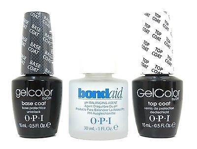 OPI GelColor Gel lacquer Nail Polish Top Coat + Base Coat + Bondaid pH Balancing