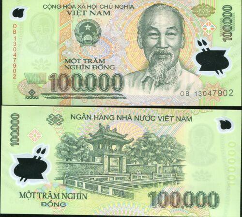 VIETNAM 100,000 100000 DONG 2013 P 122 POLYMER UNC