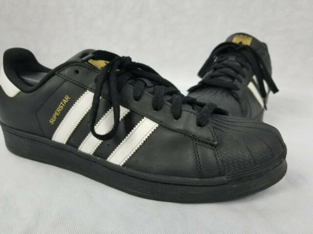 quality design 6fadc 7ba1c Black White and Gold Adidas Superstar Mens Size 12 Gold Trim