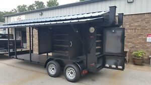 Enclosed-BBQ-Smoker-Grill-Trailer-Roof-Food-Truck-Concession-Mobile-Kitchen-Fair