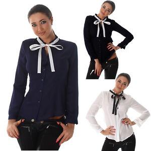 new arrival 6b2ba 3ee01 Dettagli su blusa camicia donna con fiocco nastro a contrasto voile maniche  lunghe avvitata