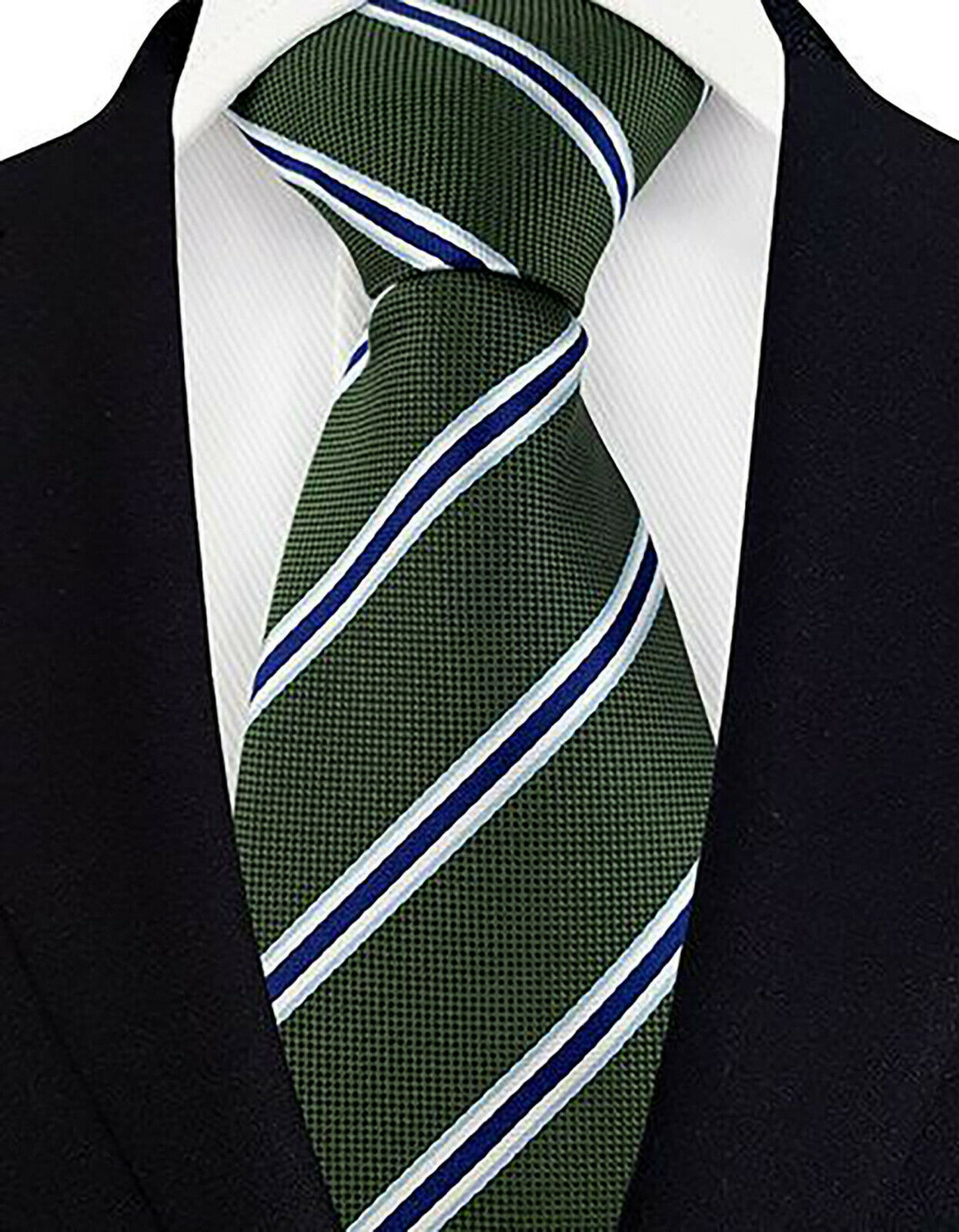 Green Blue Tie Stripe Pattern Handmade 100% Silk Necktie 8cm Width