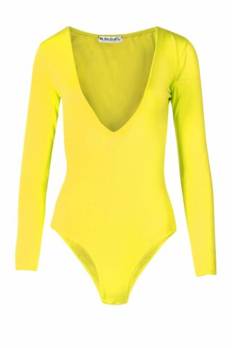 Womens Ladies Long Sleeve Plain Deep Plunge V Neck Jersey Bodysuit Leotard Top