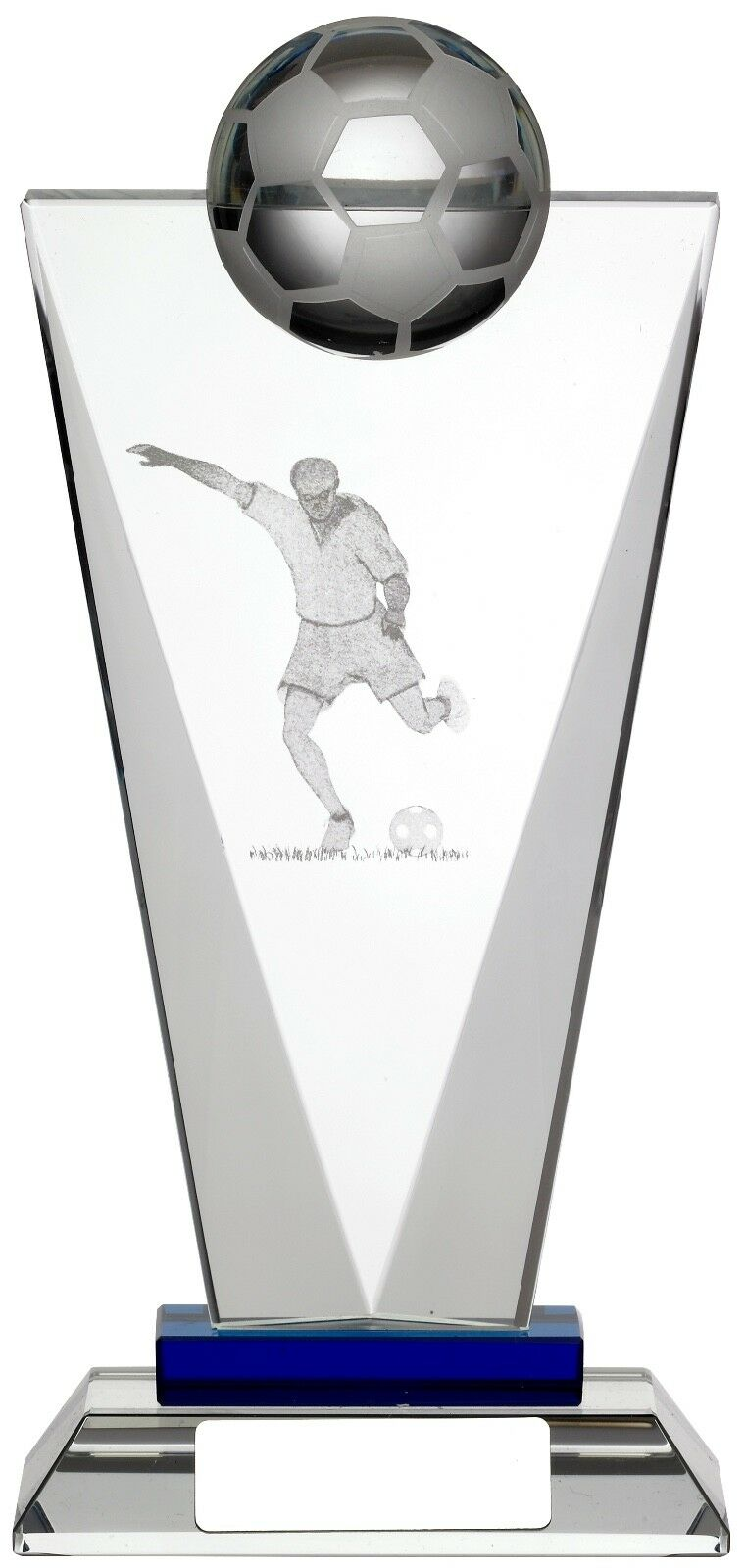 Laser Engraved Glass Football Trophy, Award,205mm, FREE Engraving, (GLF73B) good