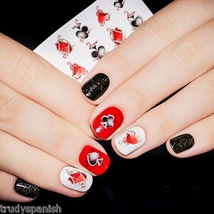 Nail Art Stickers Nail Water Decals Transfers Poker Aces Playing Cards Casino Ebay