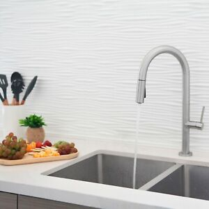Single Handle  Pull Down Sprayer  Kitchen Faucet in  Brushed Nickel Finish