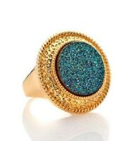 Bellezza Drusy Quartz Gold Plated Bronze Rope Edge Course Green Ring Size 5
