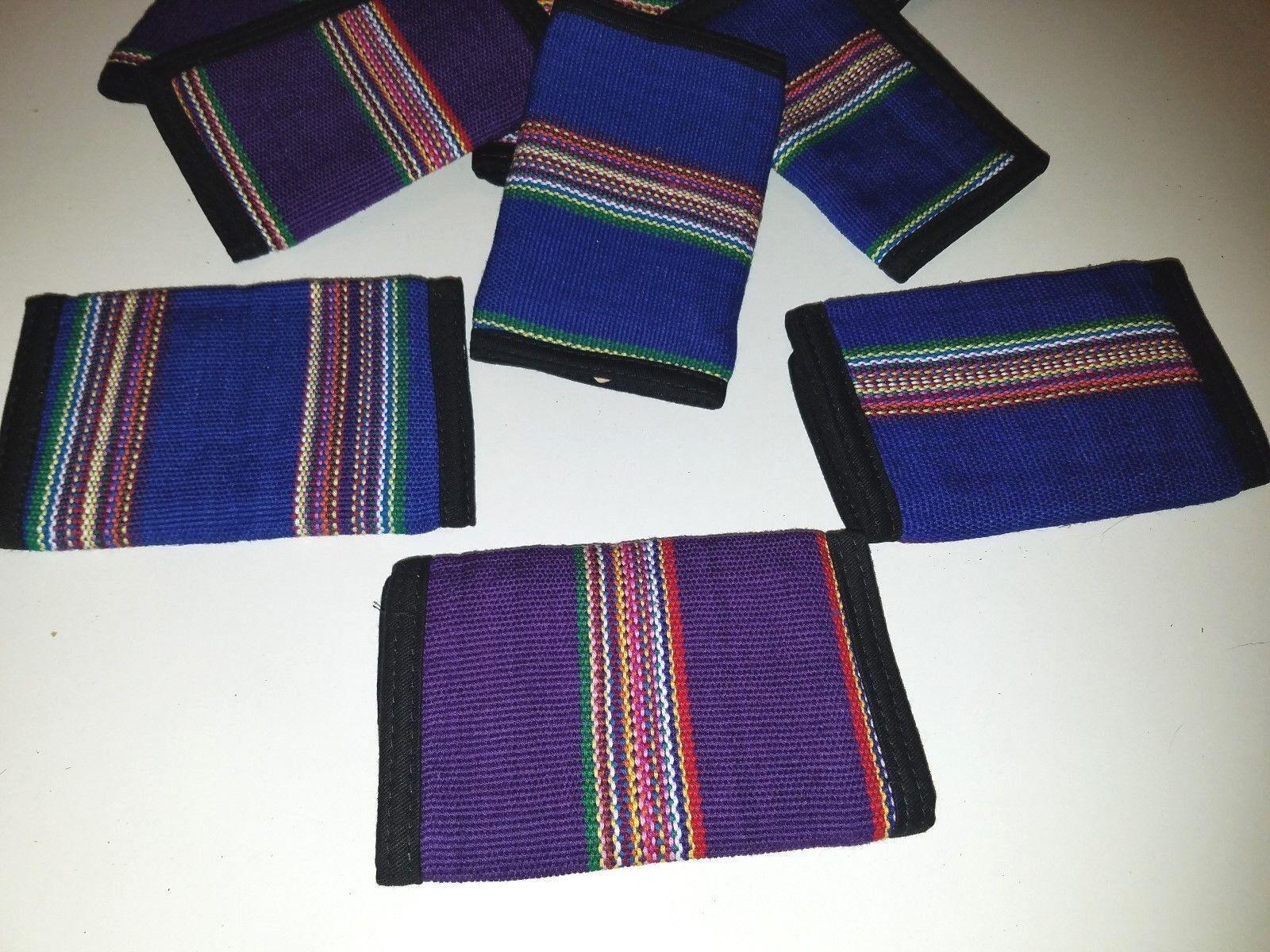 Wholesale Wallet lot 49 Guatemala Handmade Blue Purple Multi Color Trifold NOS