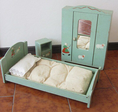 Dutiful Antico Arredamento Da Bambola /armadio Letto Comodino Anni '30
