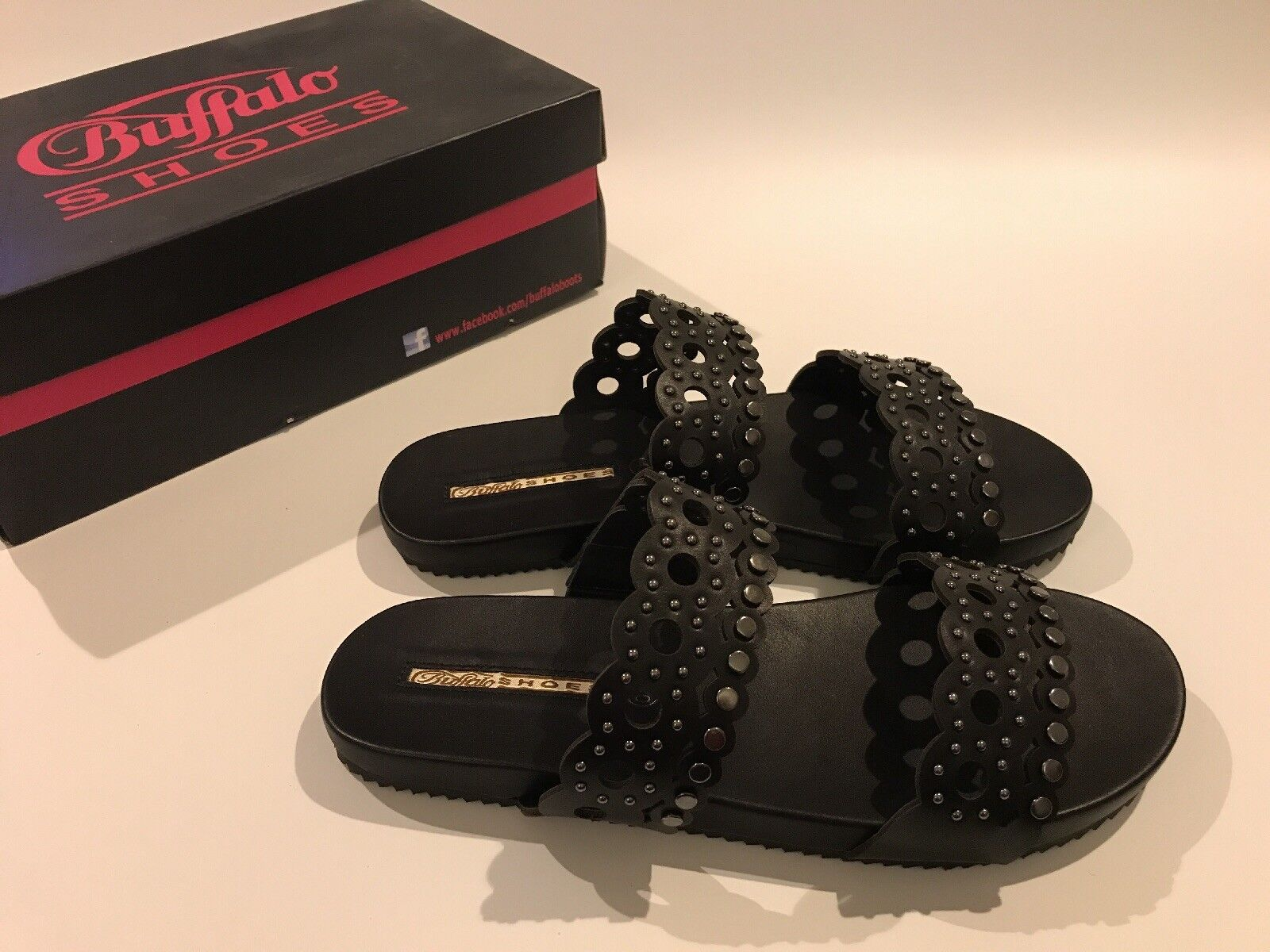 Buffalo Women's black leather Sandals UK size size size 7.5 8 NEW and boxed Reduced ee6f92