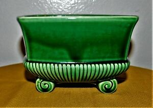 Mid-Century-6-034-X-4-034-Green-Glazed-Sleigh-Sled-Planter-USA