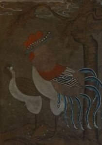 Very Fine Early 1900 Korean Minhwa Folk Painting Mystical Bird & Pheasant Jangji Relieving Heat And Thirst. Asian Antiques