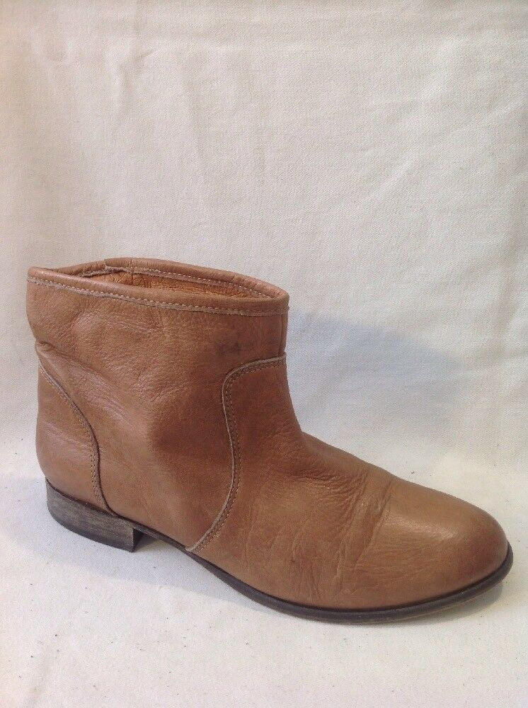 DOMEN Brown Ankle Leather Boots Size 39