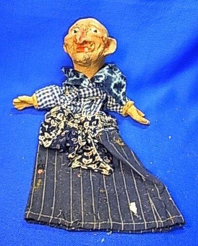 Antique German Cardboard Hand Puppet Old Woman  AV7
