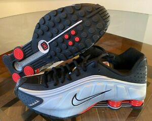 Nike-Shox-R4-Metallic-Silver-Black-Max-Orange-Red-Retro-BV1111-008-Men-039-s-Sizes