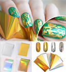 8 Pcs Laser Starry Nail Foil Holographic Stickers Gold Silver Manicure Decor