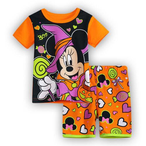 2PCS Kid Boys Girls Cartoon Print Outfit Short Sleeve T Shirt Shorts Pyjamas Pjs