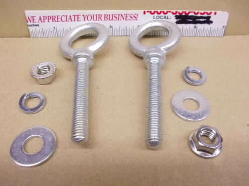 """Nuts /& Washers included Eye Bolts 3//8/"""" 2-1//2/"""" Shaft free shipping Lot of 2"""