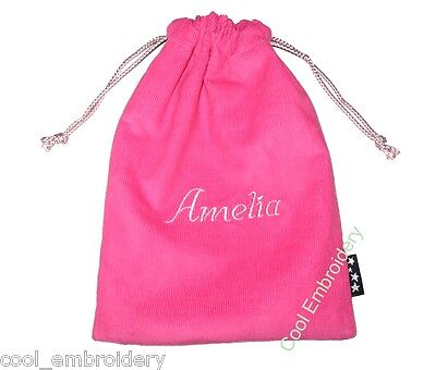 Personalised Corduroy gift pouch grip bag lunch 19cmx26cm **COLOUR CHOICE