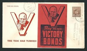 1942 FDC Cover The Tide Has Turned Buy The New Victory Bonds Ottawa Canada to US