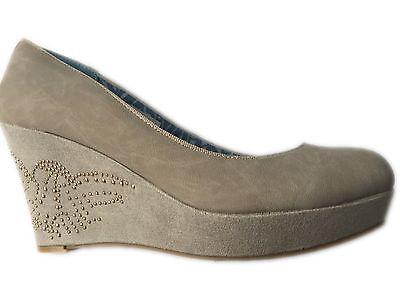 NEU Damenmode Damen Schuhe Pumps mit Keilabsatz beige von Melrose Gr.40