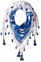 D&y Women's Distressed American Flag Scarf With Tassels 40x40