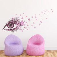 1x Pink Eye Flower Butterfly Wall Sticker Room Removable Vinyl Art Decals Mural