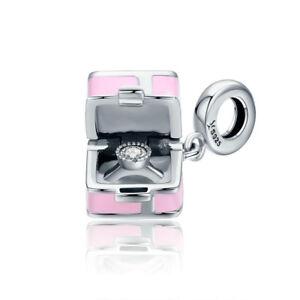 Genuine-S925-Silver-Gift-Box-Present-Bow-Charm-Bead-Pendant-Fits-Bracelet-Chain