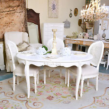 Shabby Cottage Chic Oval White Dining Table Vintage French Style White Roses