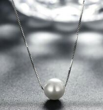 "10mm Genuine Freshwater Pearl 925 Sterling Silver Necklace 16"" Box Chain ITALY"