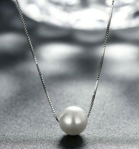 10mm-Genuine-Freshwater-Pearl-925-Sterling-Silver-Necklace-16-034-Box-Chain-ITALY