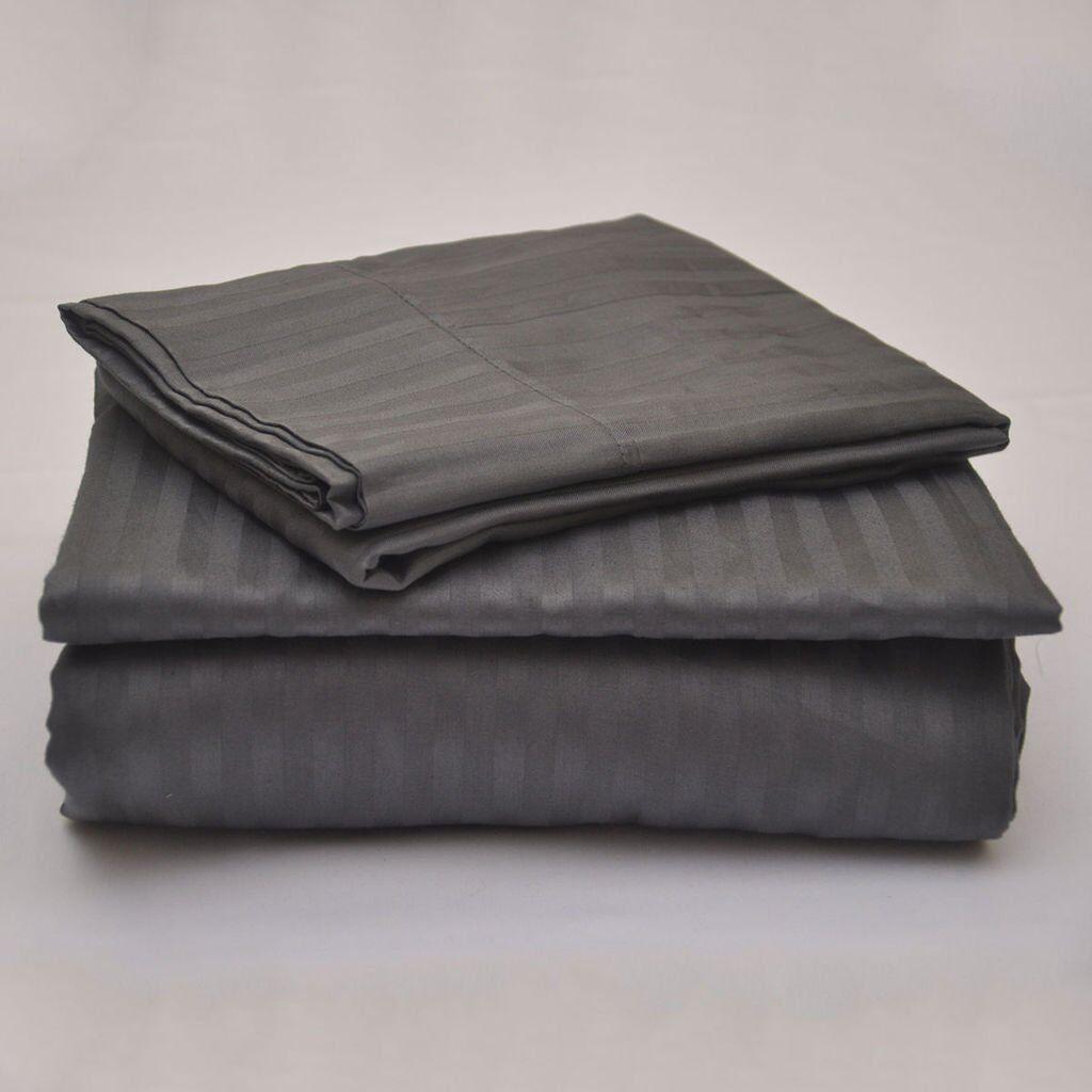 Egyptian Cotton 800 TC Dark Grey Stripe Sheet Set Duvet Fitted Pillow 15  Drop