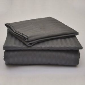 Egyptian-Cotton-800-TC-Dark-Grey-Stripe-Sheet-Set-Duvet-Fitted-Pillow-15-034-Drop