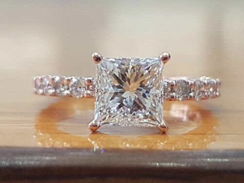 1.5 Ctw Princess Cut Diamond Solitaire Engagement Ring in White Gold Finish