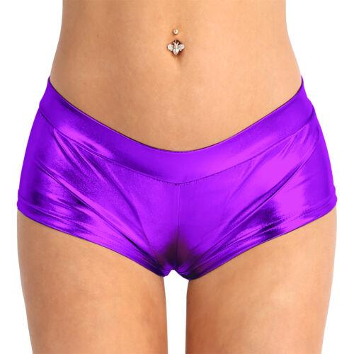Damen Frauen Shorts Hot Pants Kurze Hose Wetlook Metallic Glanz Optik Tanz Hosen