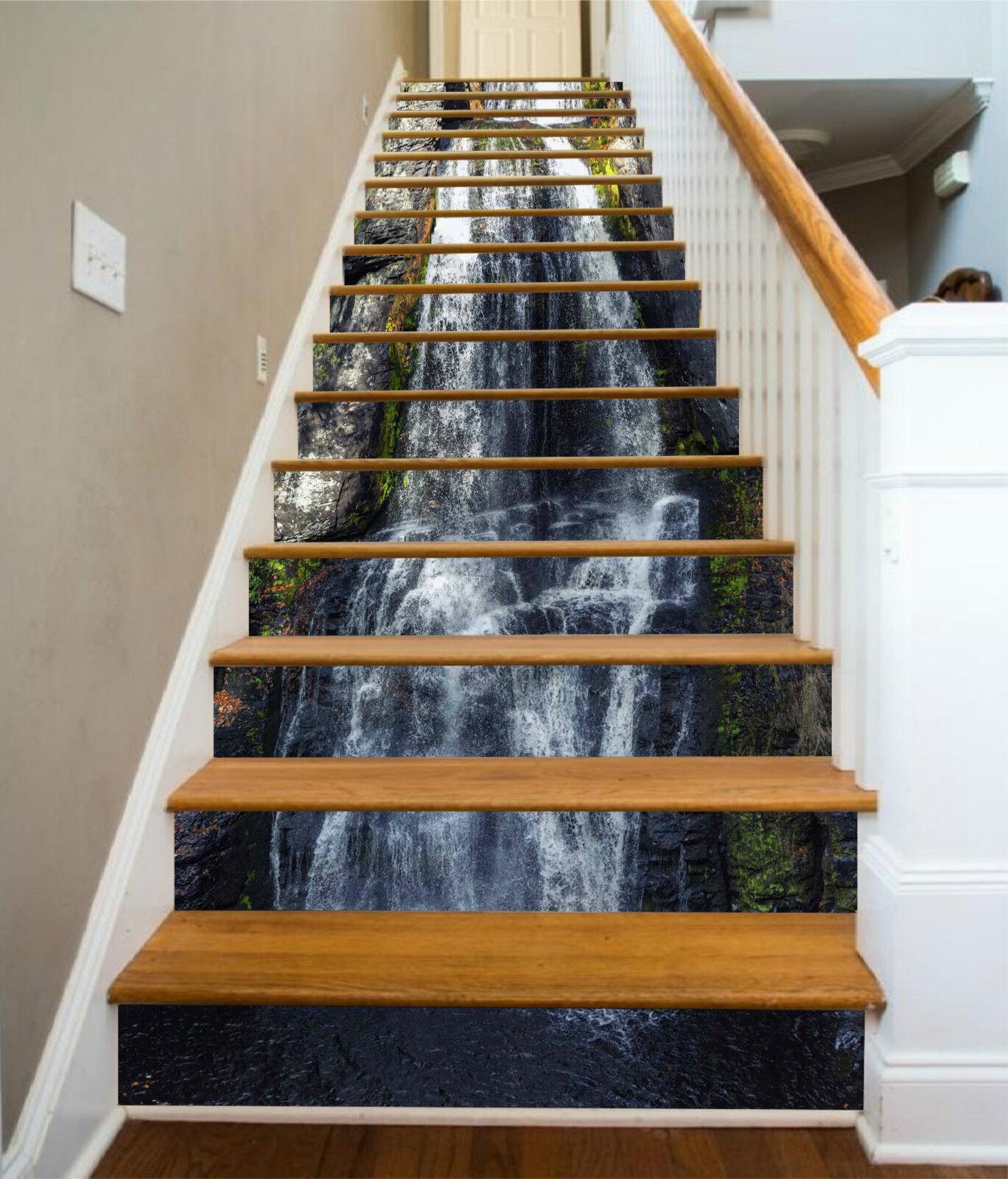 3D Fluss Stein 425 Stair Risers Dekoration Fototapete Vinyl Aufkleber Tapete DE