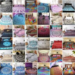 Twin-Size-Cotton-Flat-Bed-Sheet-Bed-Cover-Psychedelic-Mandala-Bedspread-Bedding