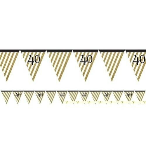 3.7m//3.7m Birthday Party Decorations Black /& Gold-Flag Banner