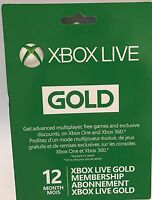 Microsoft Xbox Live 12 Month Gold Membership Card For Xbox 360 / Xbox One
