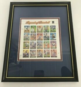 2000-Legends-of-Baseball-Mint-Sheet-of-20-x-33-Cent-Stamps-FRAMED-Set-Matted