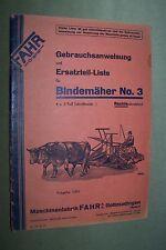 1931 original FAHR Gottmadingen Bindemäher No.3 rechtsschneidend Bedienung ETL