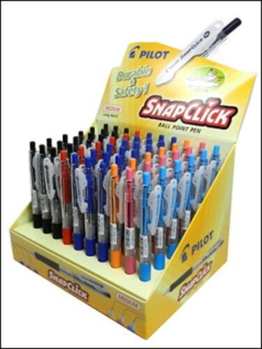 Pilot SnapClick Retractable Ballpoint Pen Medium Nib 6 colours Rubberised Grip