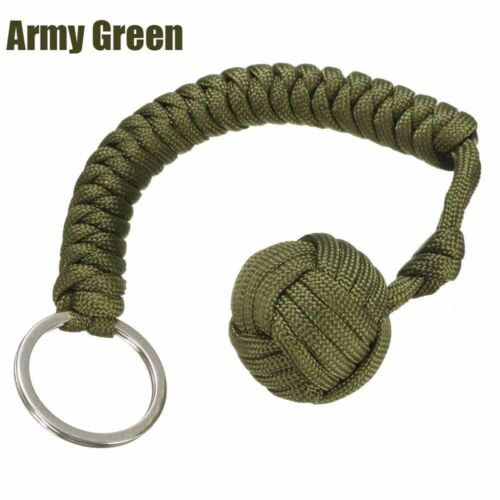 Outdoor Monkey Fist Paracord Keychain Keyring Military Steel Ball Survival LN6X