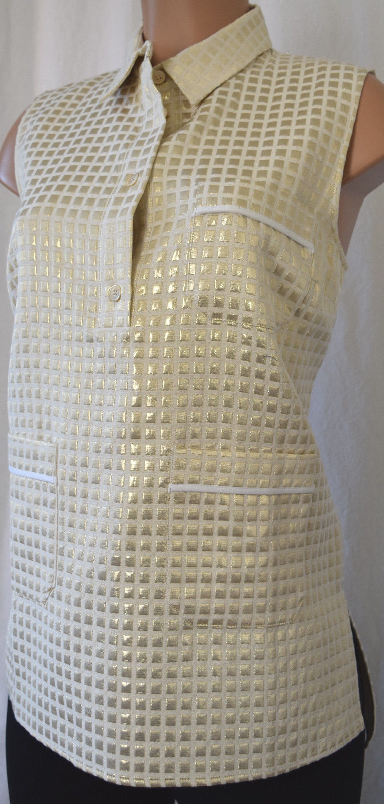 MARNI  Gold SQUARE GEOMETRIC SHAPE PRINT SLEEVELESS COLLAR SHIRT BLOUSE Größe  44