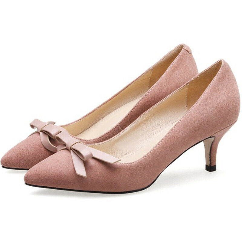 Ultimo 2018 donna Elegant Date Date Date Pointed Toes Stilettos Med Heels Suede Slip On Bowknot Pumps  tempo libero