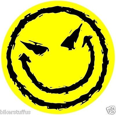 EVIL SMILEY FACE BUMPER STICKER YELLOW LAPTOP STICKER TOOLBOX STICKER WINDOW