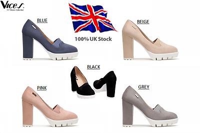 Para mujeres damas de salón con Plataforma Bloque Alto-Infierno Resbalón En Sandalias Nuevo * Reino Unido Stock
