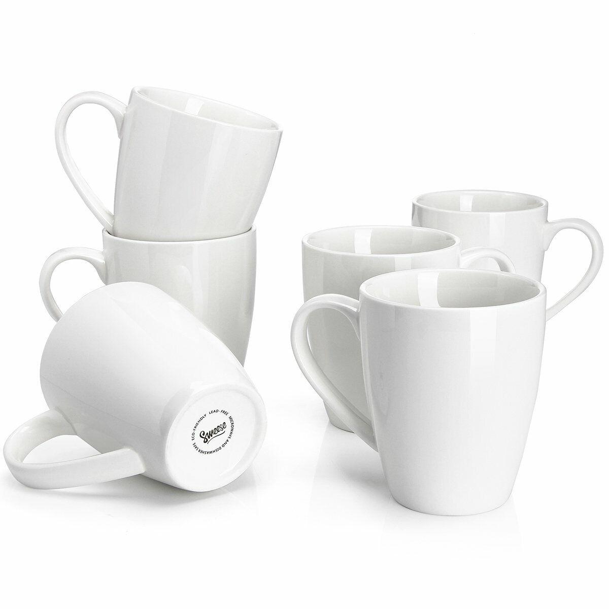Sweese 6201 Porcelain Mugs - 16 Ounce for Coffee, Tea, Cocoa, Set of 6, White