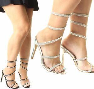 Womens Stiletto Diamante Wrap Around