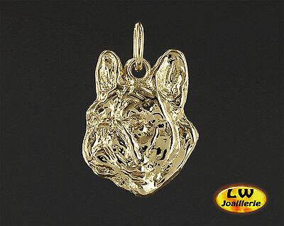 Pendentif Chien BOULEDOGUE FRANCAIS EN 3D 18 carats OR Jaune Massif 750//1000